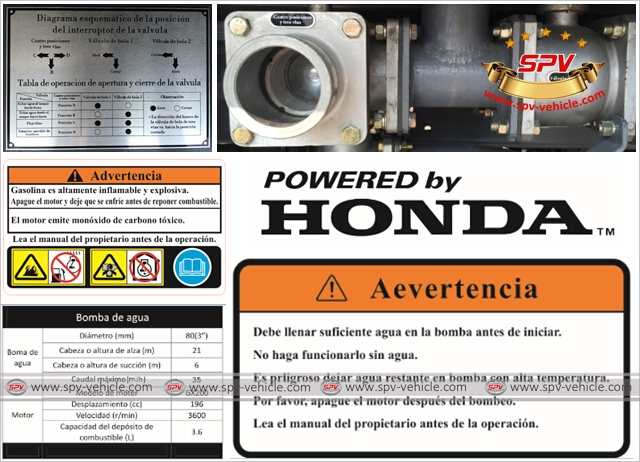 Details of water tanker JAC equipped with gasoline engine pump HONDA - Spanish markings