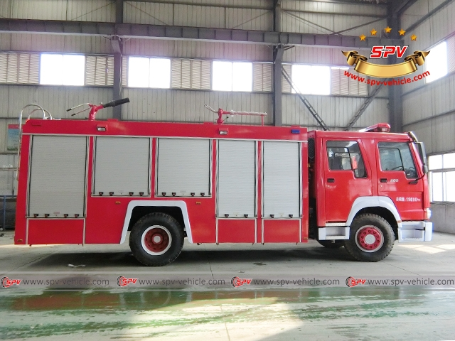 Side View of Fire Fighting Equipment-HOWO