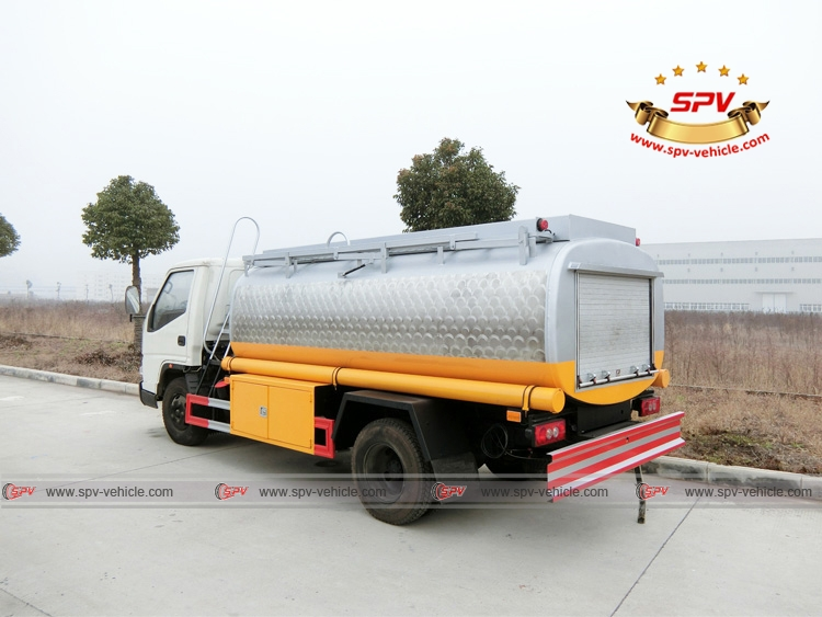 Rear Left Side View of Stainless Steel Fuel Tanker JMC
