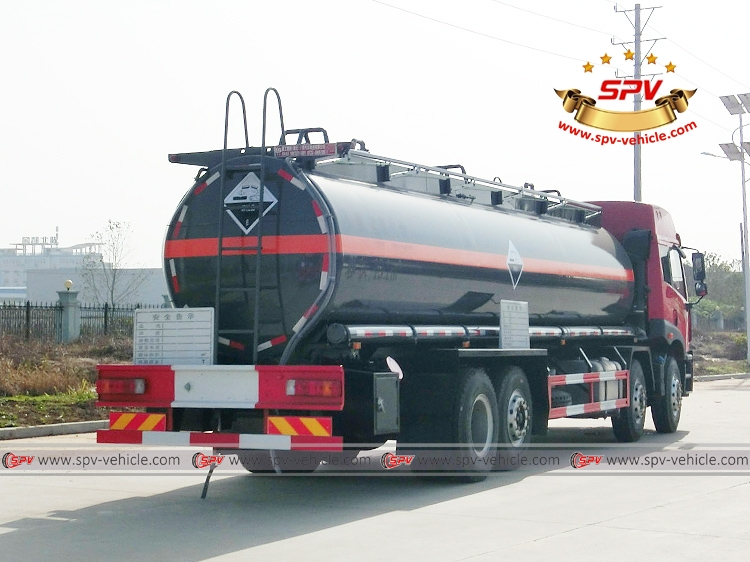 Right back view of Chemical Liquid Tanker Truck FAW