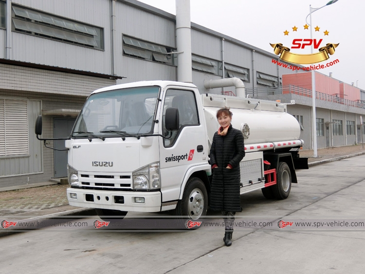 Irene in front of Stainless Steel Fuel Tanker (4,000 Liters)