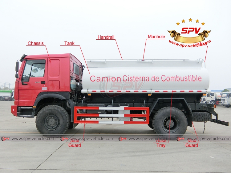 10,000 litres Fuel Tank Truck Sinotruk HOWO 4X4 - Left side